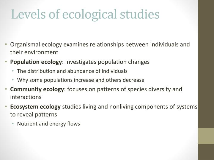 Levels of ecological studies