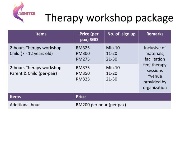 Therapy workshop package