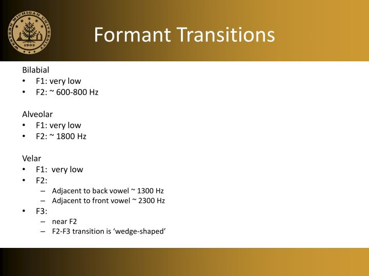Formant Transitions