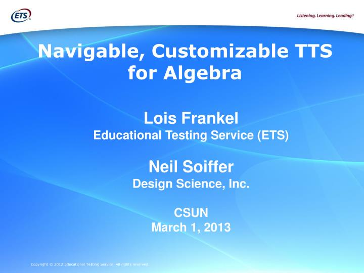 navigable customizable tts for algebra