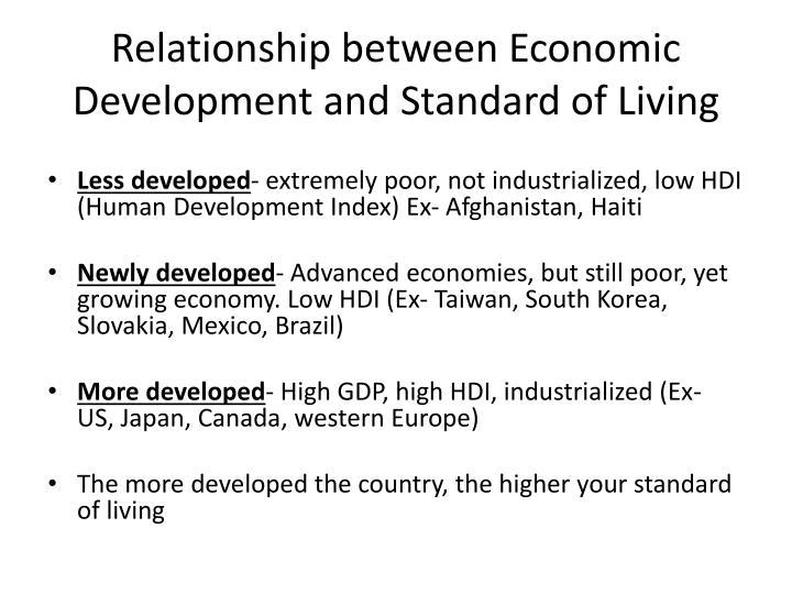Relationship between Economic Development and Standard of Living