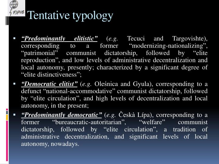 Tentative typology
