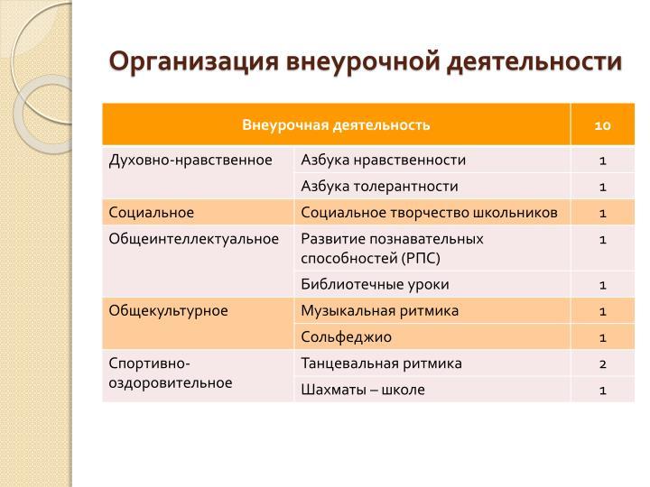 Организация внеурочной деятельности