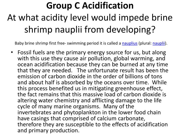Group C Acidification