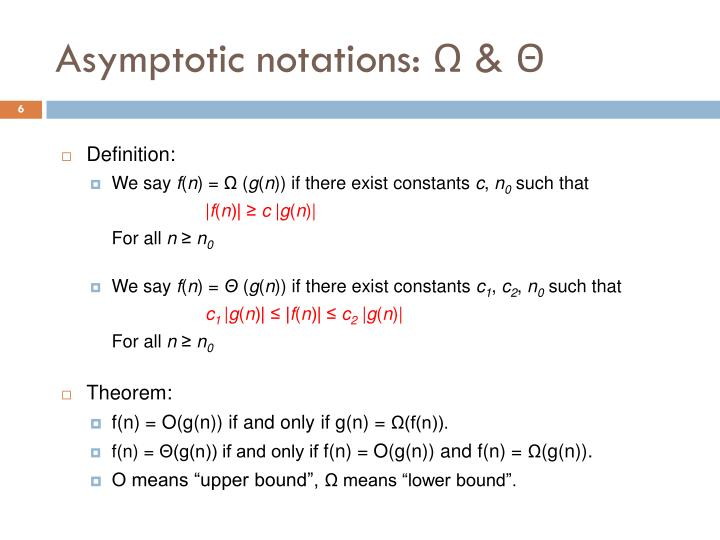Asymptotic notations: