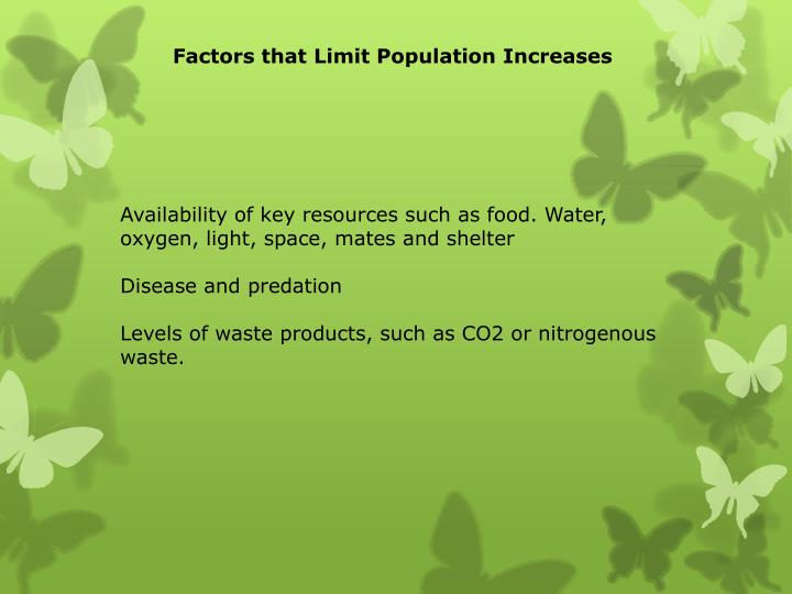 Factors that Limit Population Increases