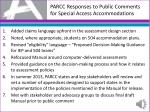 parcc responses to public comments for special access accommodations