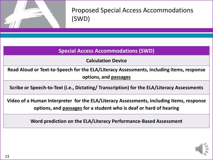 Proposed Special Access Accommodations (SWD)