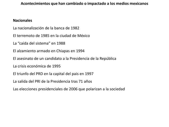 Acontecimientos que han cambiado o impactado a los medios mexicanos