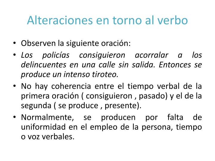 Alteraciones en torno al verbo