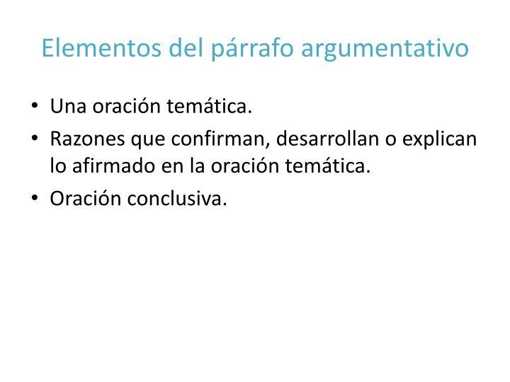 Elementos del párrafo argumentativo