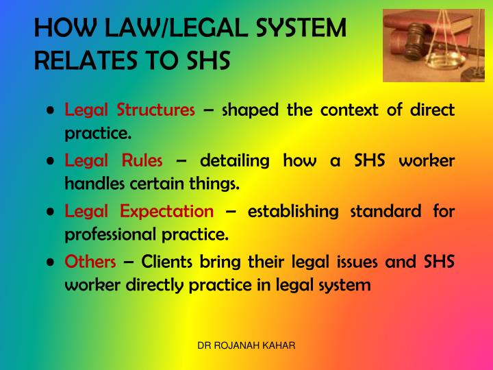 HOW LAW/LEGAL SYSTEM RELATES TO SHS