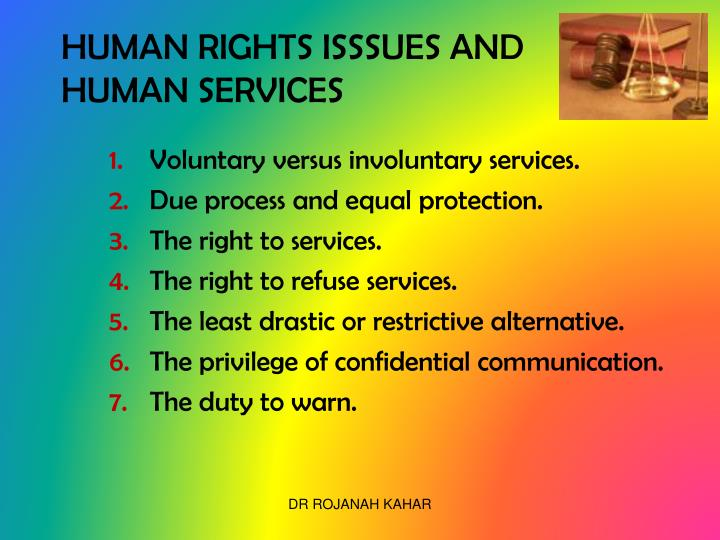 HUMAN RIGHTS ISSSUES AND HUMAN SERVICES