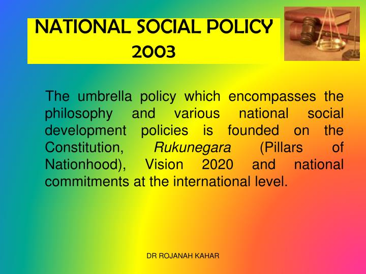 NATIONAL SOCIAL POLICY 2003