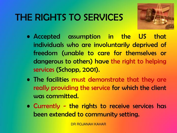 THE RIGHTS TO SERVICES