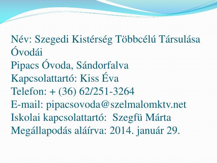 Nv: Szegedi Kistrsg Tbbcl Trsulsa vodi