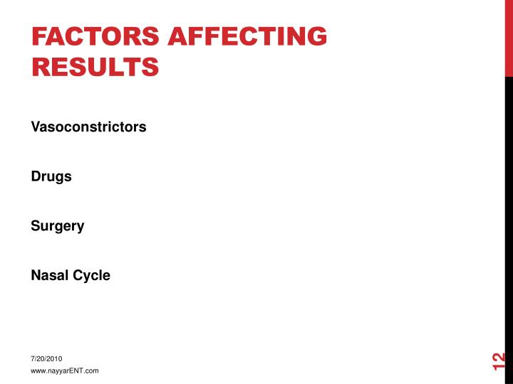 Factors affecting results