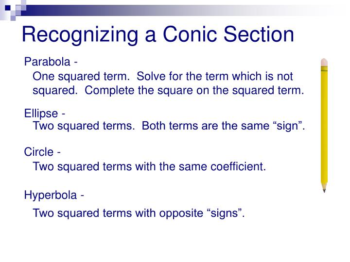 Recognizing a Conic Section