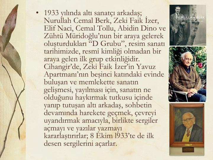 1933 yılında altı sanatçı arkadaş; Nurullah Cemal Berk, Zeki Faik