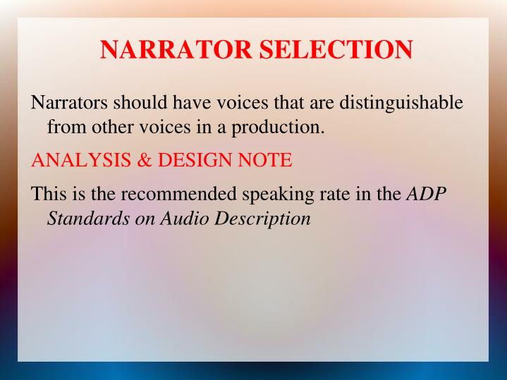 NARRATOR SELECTION