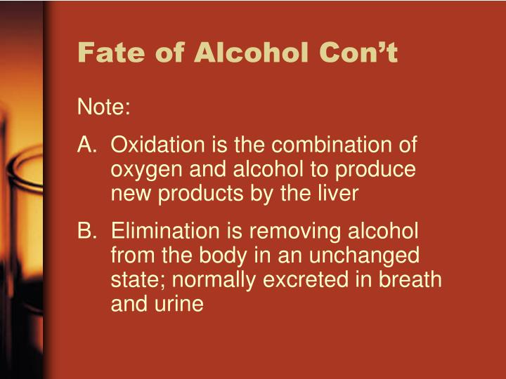 Fate of Alcohol Con't
