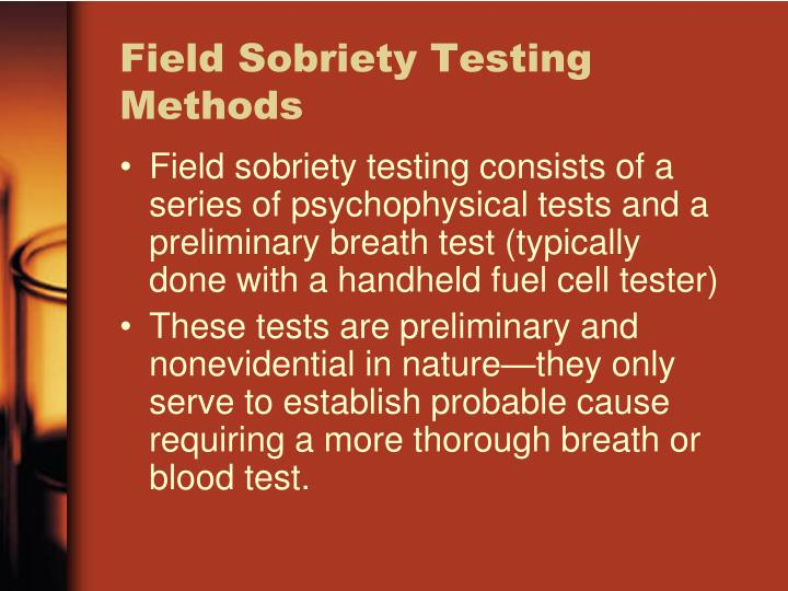 Field Sobriety Testing Methods