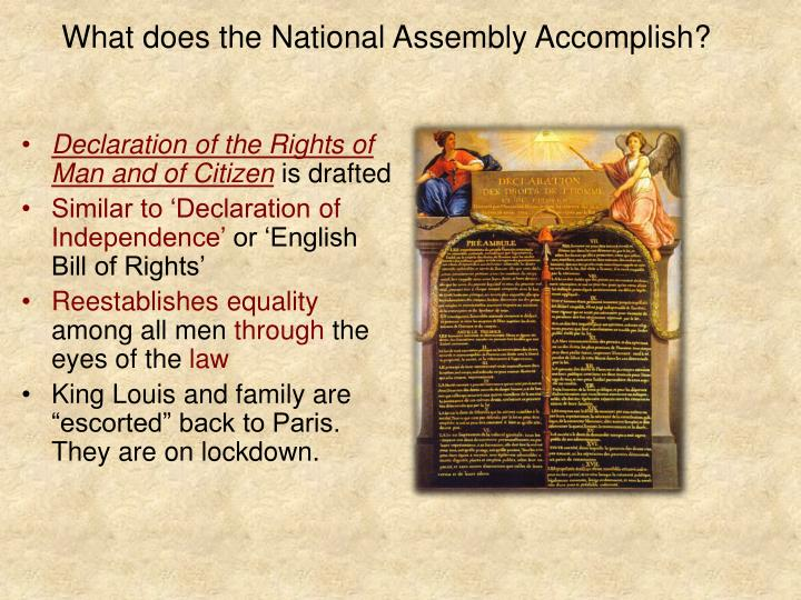 What does the National Assembly Accomplish?