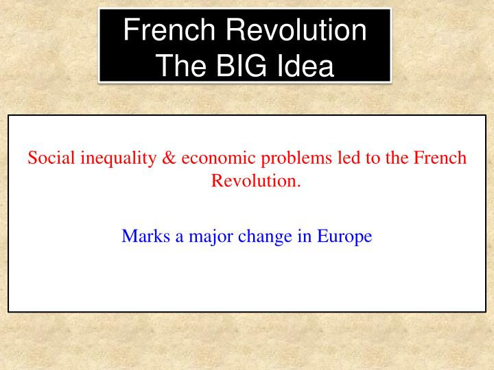 Social inequality & economic problems led to the French Revolution.
