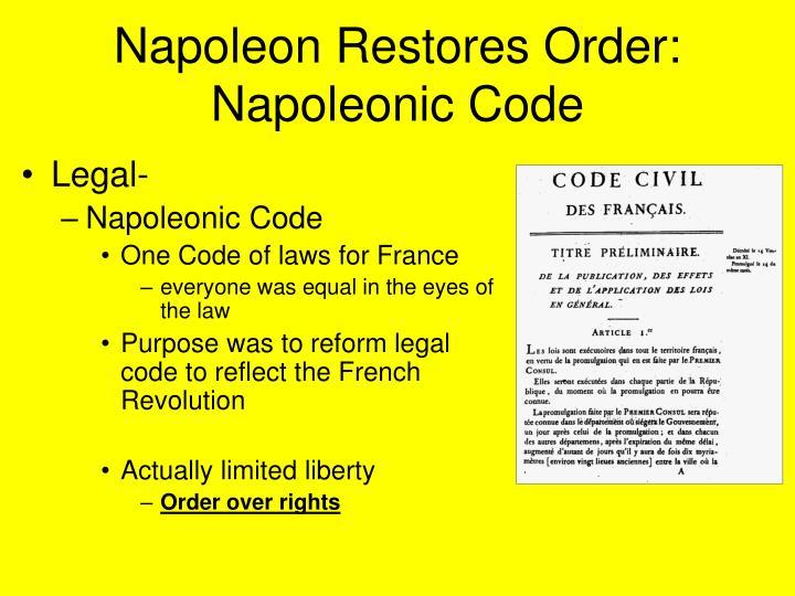 Napoleon Restores Order: Napoleonic Code