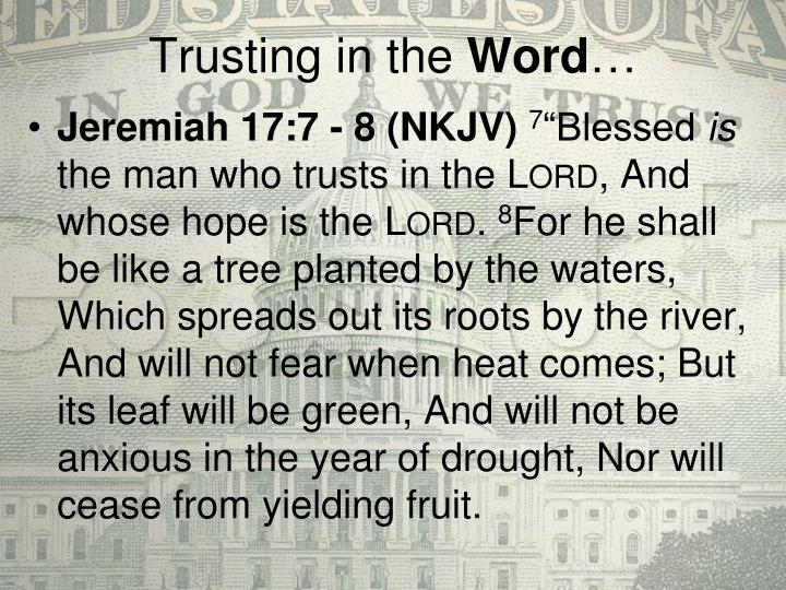 Trusting in the word