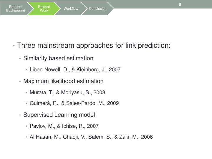 Three mainstream approaches for link prediction: