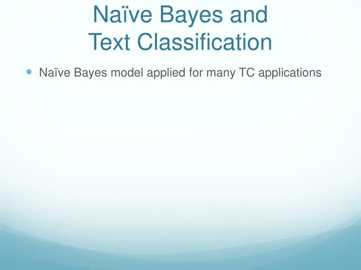 Naïve Bayes and