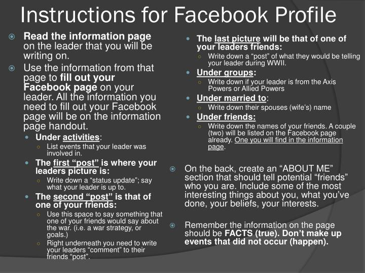 Instructions for Facebook Profile