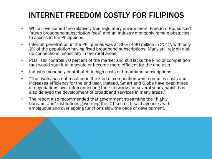 Internet freedom costly for