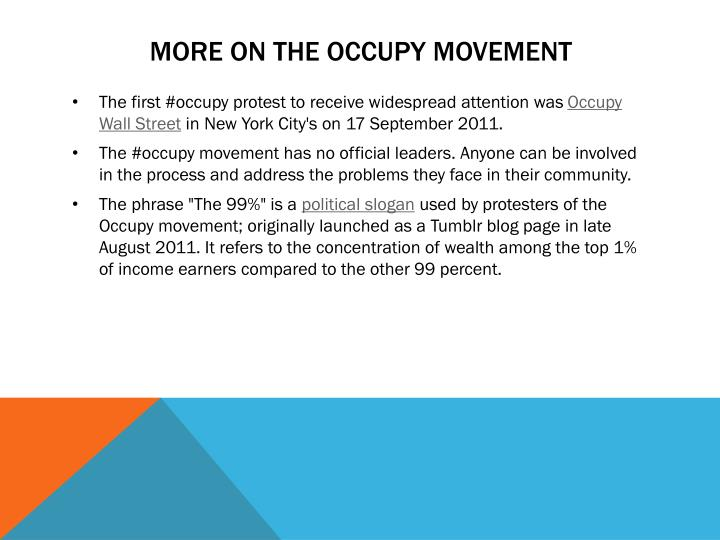 More on the occupy movement
