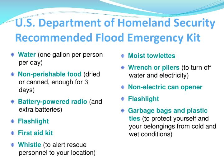 U.S. Department of Homeland Security Recommended Flood Emergency Kit
