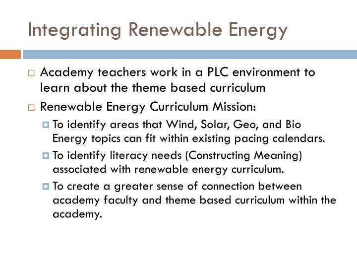 Integrating Renewable Energy