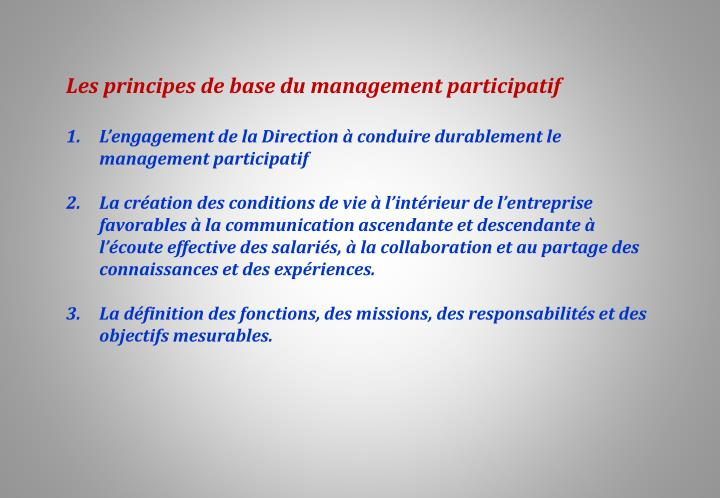 Les principes de base du management participatif