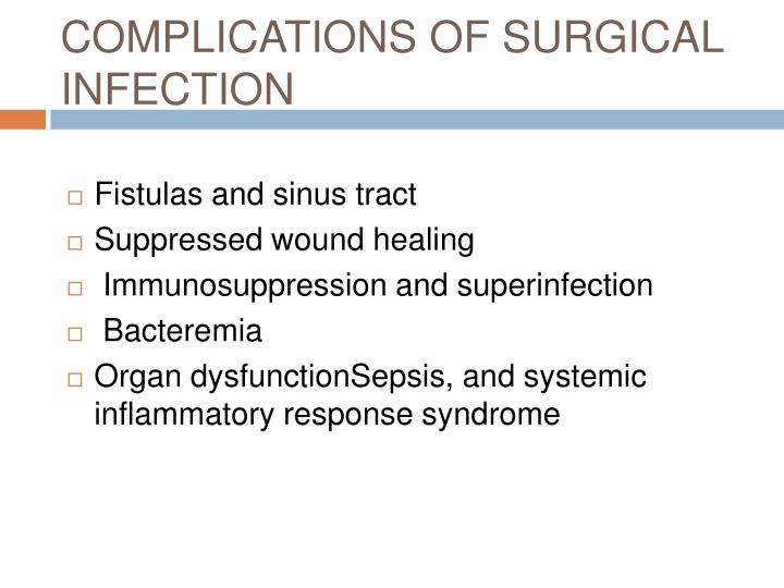 COMPLICATIONS OF SURGICAL INFECTION