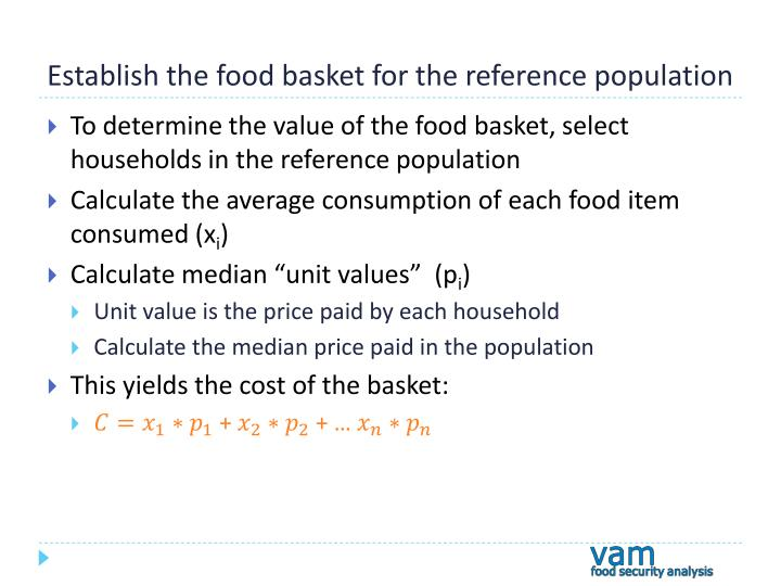 Establish the food basket for the reference population