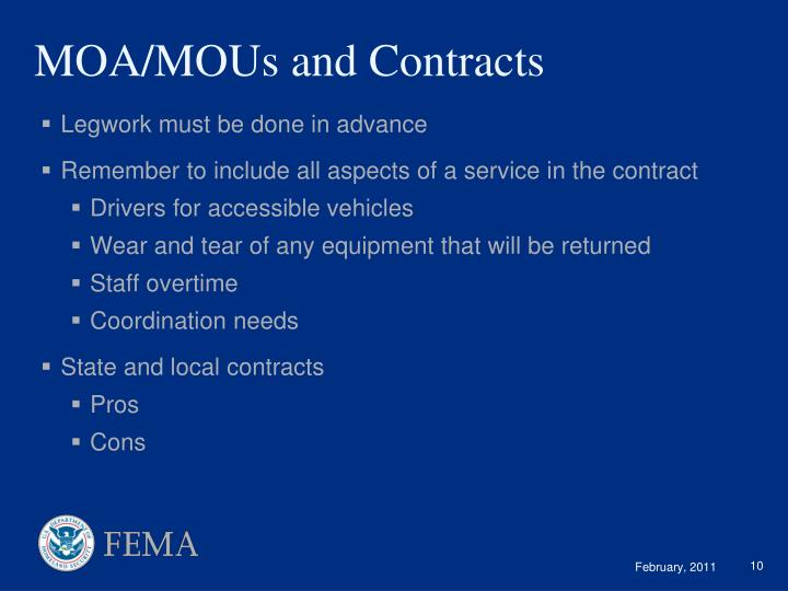 MOA/MOUs and Contracts