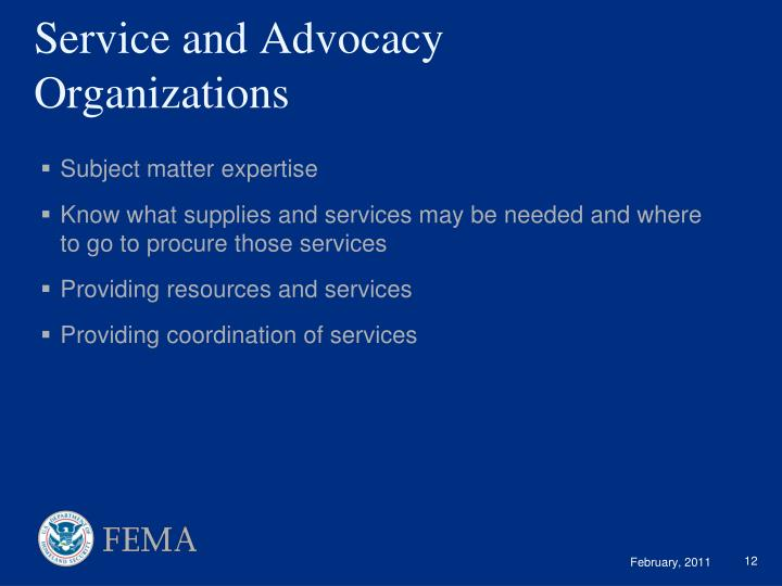 Service and Advocacy  Organizations