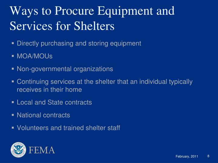 Ways to Procure Equipment and Services for Shelters