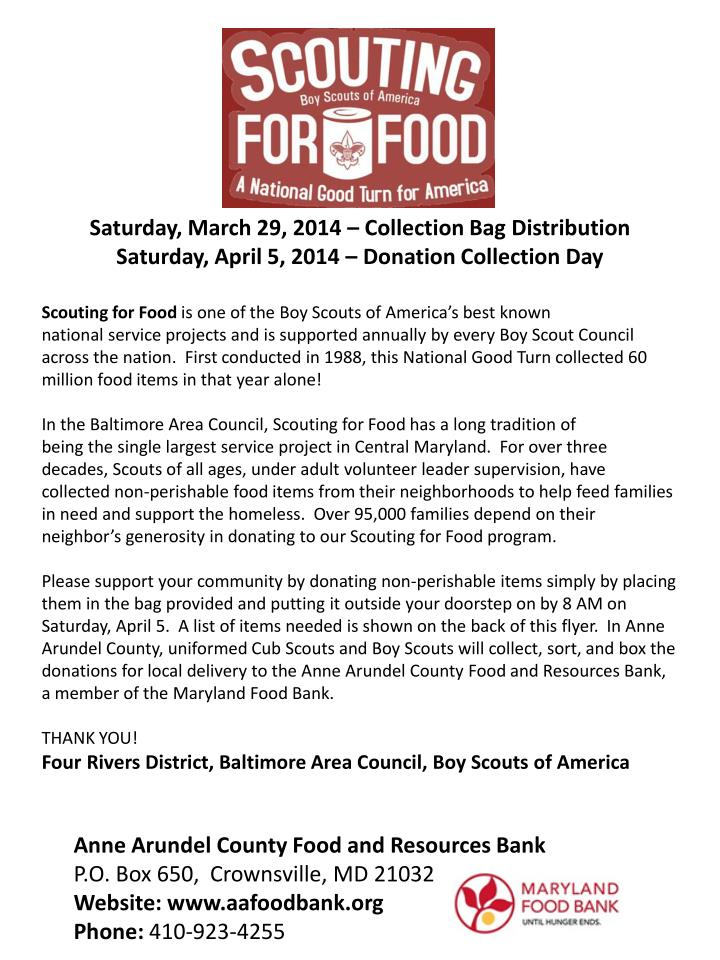 Saturday, March 29, 2014 – Collection Bag Distribution