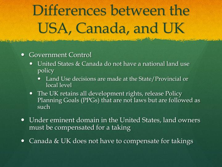 Differences between the USA, Canada, and UK