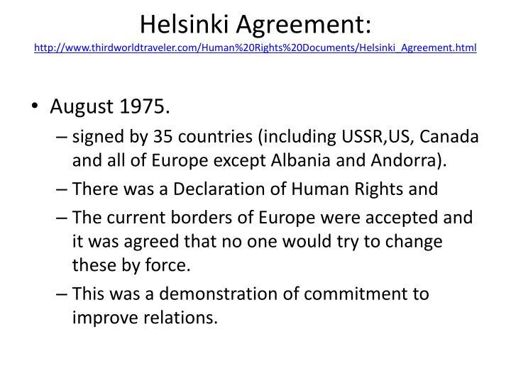 Helsinki Agreement: