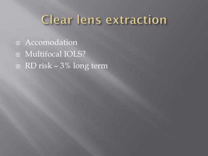 Clear lens extraction