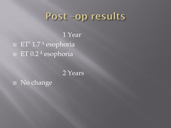 Post –op results