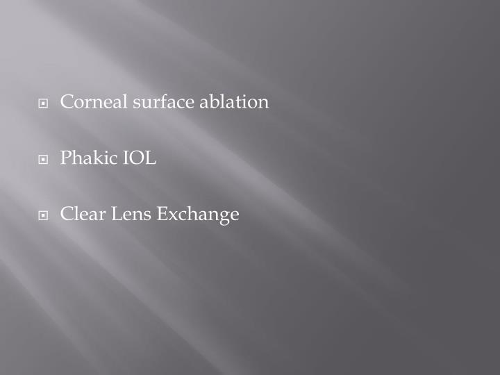Corneal surface ablation