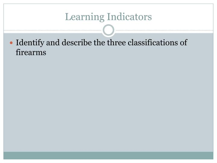 Learning indicators